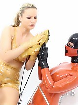 KINKY RUBBER CLINIC SEX, HEAVY RUBBER MASK DRESSING PT 1