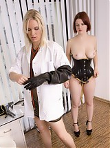 Medical checkup in the clinic room, adjustment of body with a forcing corset and a neck corset