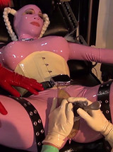 Rubber pussy examination