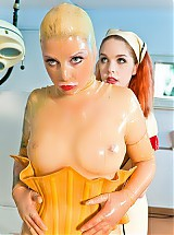 In the fetish clinic latex nurse and patient