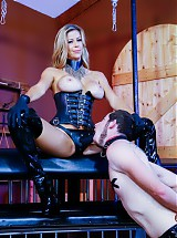 Alexis Fawx humiliating her two slaves