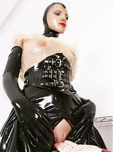 Latex, rubber, bondage, chastity belts, ponygirl games with fetish model Pupett